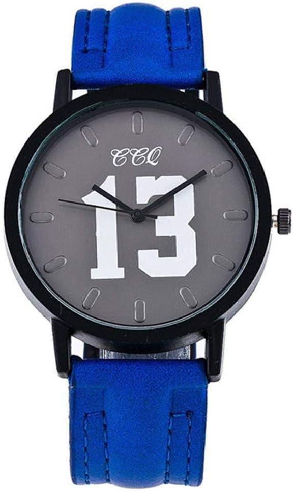 Relojes Reloj Watches Relojes De Pulsera Reloj De Cuero De Moda Número Casual Reloj De Pulsera De Mujer Reloj De Cuarzo De Lujo-Azul