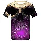 Allywit Skull T Shirt Skeleton T-Shirt Gun Tshirt Gothic Shirts Punk Tee 3D t-Shirt Anime Male Styles Purple