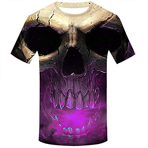 Allywit Skull T Shirt Skeleton T-Shirt Gun Tshirt Gothic Shirts Punk Tee 3D t-Shirt Anime Male Styles Purple by Allywit-Mens