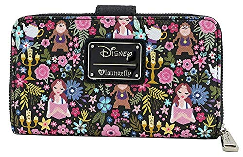 61e4b24ce3a9 Loungefly x Beauty and the Beast Belle Character Floral Print Wallet (Black  Multi