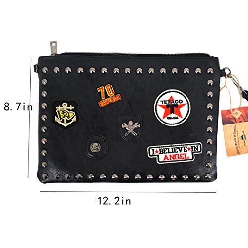 Clutch Crossbody Envelope Patch Women Black PU Chain Sticker Shoulder Tote Handbag Fashion Purse ZLMBAGUS Bag YgqIP