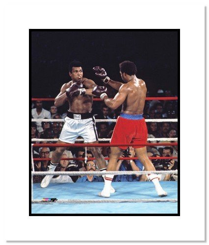 Muhammad Ali Boxing Double Matted 8x10 Photograph vs George Foreman Foreman Photograph