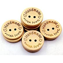 Handmade with Love Wooden Button Natural Wood Sewing Button 20mm Pack of 50pcs