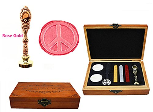 MNYR Anti-War Peace Love Luxury Wood Box Rose Gold Metal Peacock Wedding Invitations Gift Cards Paper Stationary Envelope Seals Custom Wax Seal Sealing Stamp Wax Sticks Melting Spoon Wood Gift Box Kit by MNYR (Image #1)