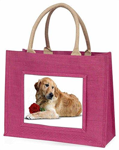 Advanta Golden Retriever mit Rot Rose Große Einkaufstasche/Weihnachtsgeschenk, Jute, pink, 42x 34,5x 2cm