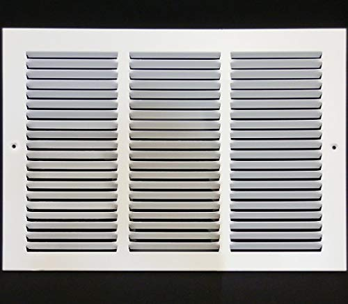 18w X 8h Steel Return Air Grilles - Sidewall and Ceiling - HVAC DUCT COVER - White [Outer Dimensions: 19.75w X 9.75h]