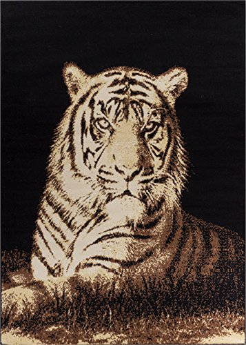 Well Woven Miami Tiger Black Animal Print Area Rug 5' X 7' by Well Woven