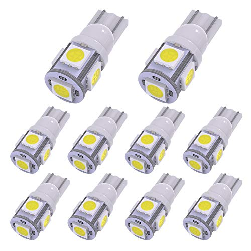 YITAMOTOR 194 168 T10 LED Bulb White, 2825 158 192 906 LED Replacement Light Bulb for Car Dome Map License Plate Lights Lamp, 5SMD, 12V, 10-Pack ()