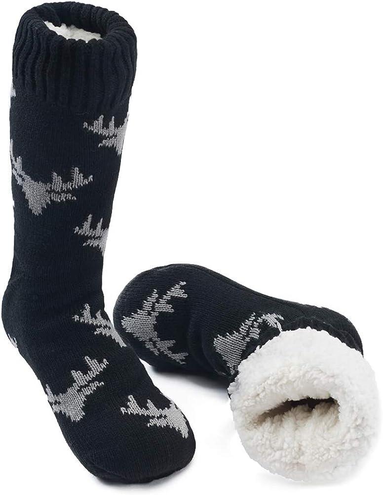 MaaMgic Calcetines Antideslizante Hombres Tejer Doble Lana Calcetines de Casa Invierno Regalo de Navidad