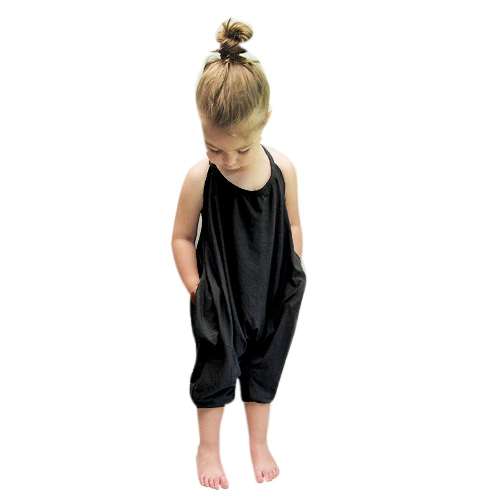Domybest Baby Clothes Girl Sets Sling Girls Summer Black Jumpsuit Romper Bodysuits Size 0/7 Y (for 4-5 Y) 112952