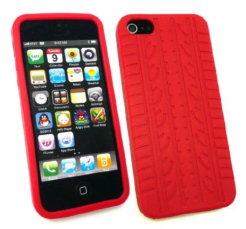 Emartbuy® Apple Iphone 5 5s Reifenprofil Silikon Skin / Schutzhülle / Case Rot