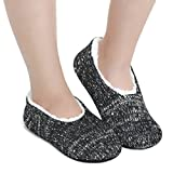 Neeseelily Womens Soft Winter Non Slip Slipper Socks House Warm Slipper Socks with Gripper (6.5-7 B(M) US, Black)