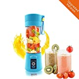 4 pc blender - [Upgraded Version] Portable Juicer Cup Personal Blender Household Fruit Mixer Water Bottle Food Grade Pc+Food Grade Rubber Seal,380ML with USB Charger Cable (blue)
