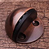 Popowbe Household Hardware Door Stoppers Stainless Steel Glass Half Round Door Stop Wedge Safety Protector Stopper Block Antique Copper