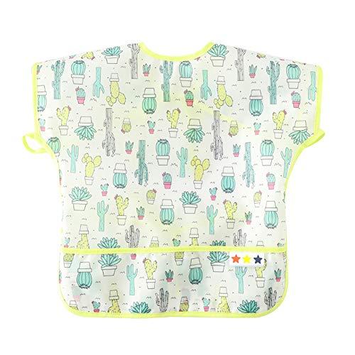(Baby Washable Adjustable Bib Breathable Eating Bibs Short Sleeve Waterproof Bibs Durable Feeding Smocks Eating Crumb Catcher Bibs Comfortable Stain and Odor Resistant Smocks 6-12M )