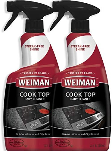 Weiman Cooktop Cleaner for Daily Use (2 Pack) Streak Free, Residue Free, Non-Abrasive Formula - 22 Ounce