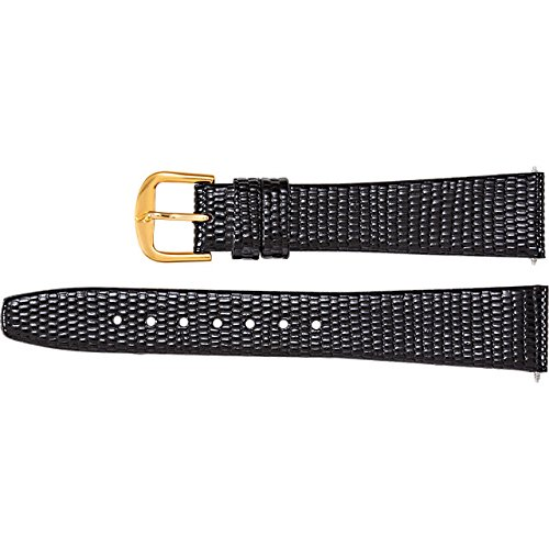 Men's 17mm Short Black Flat Lizard-Grain Leather Watch Strap by US Jewels And Gems (Image #1)