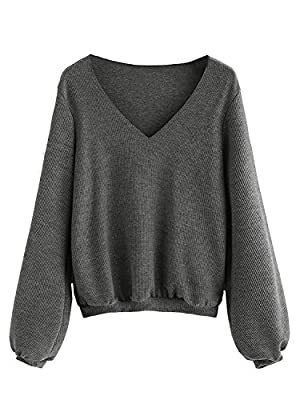 Milumia Women's Bishop Sleeve Ribbed Basic Pullovers Sweater