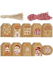 Tanersoned 200 piezas Etiquetas de Papel Kraft de Navidad, Etiquetas de Envoltura de Regalo con 40m Cuerda-Marrón y Rojo, Etiquetas para Regalo de Fiesta/Cumpleaños/Navidad