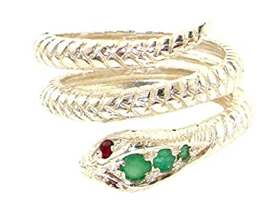 925 Sterling Silver Real Genuine Emerald and Ruby Womens Band Ring