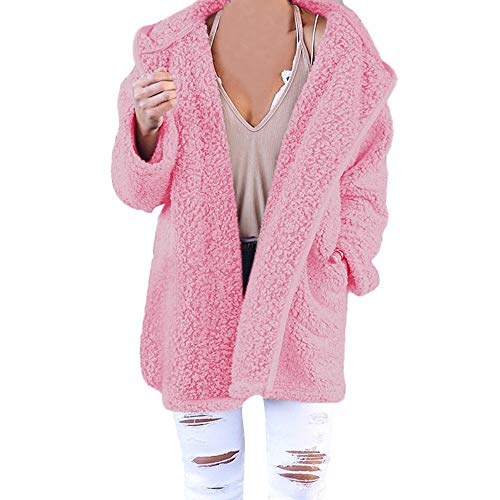 Youngh New Womens Coat Solid Loose Long Sleeve Soft Fleece Fashion Casual Hooded Jacket Cardigan Coat With Pocket by Youngh Coat