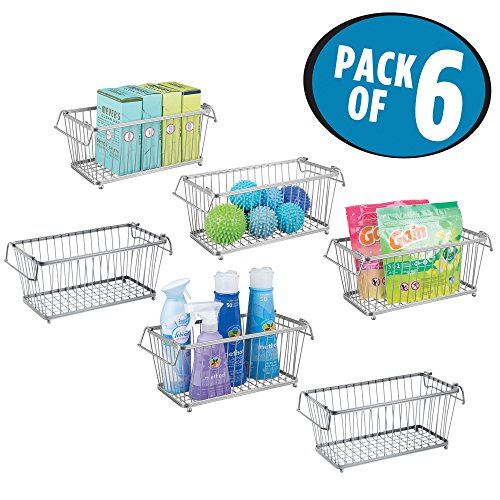 Open Cart Wire (mDesign Household Stackable Wire Storage Organizer Bin Basket, Built-In Handles, Open Front - Laundry Room, Kitchen Cabinets, Pantry, Closets, Bedrooms, Bathrooms - 12
