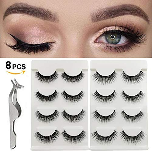 CHANCEZ 8 Pairs 2 Styles False Eyelashes Handmade Fake Eyelashes Reusable 3D Eyes Lashes with False Lashes Applicator