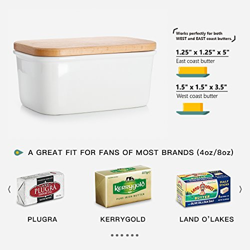 Sweese 3157 Large Butter Dish - Porcelain Keeper With Beech Wooden Lid, Perfect for 2 Sticks of butter, White by Sweese (Image #5)
