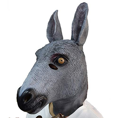 Novelty Donkey Mask Animal Head Latex Mask Adult Overhead Creepy Halloween Carnival Costume Cosplay Party Donkey Animal Mask -