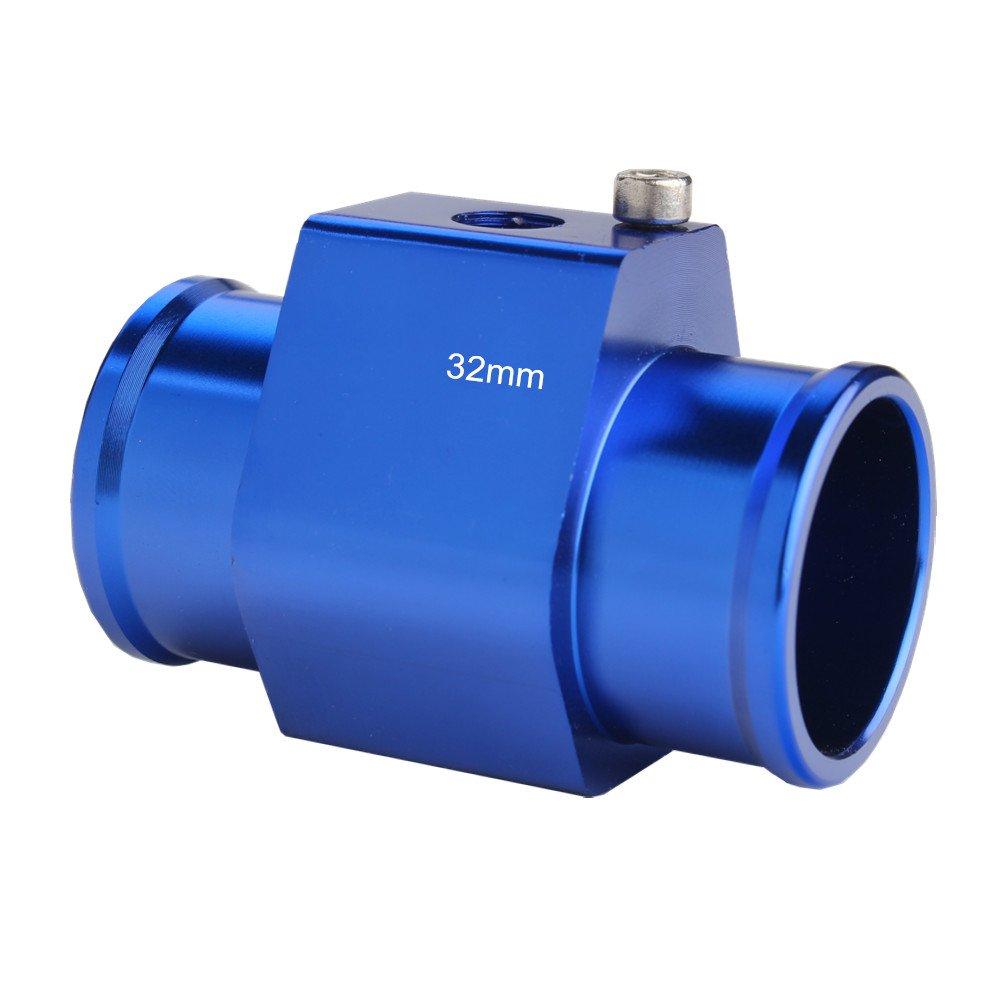 Dewhel Aluminum Silver Water Temp Meter Temperature Gauge Joint Pipe Radiator Sensor Adaptor Clamps 28mm