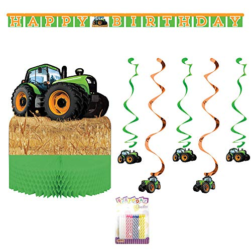 Tractor Time Party Decorations: Centerpiece, Banner, Hanging Swirl