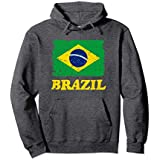 Unisex Brazil Flag Hoodie Sweater - Brasil Soccer Mens womens gift Medium Dark Heather