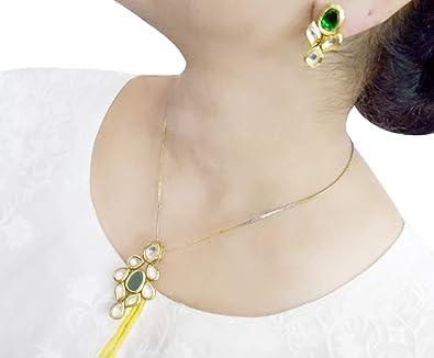 209b139b4bae5 Amazon.com: DAPHNE Emerald Shade Kundan Pendant Earrings for Diwali ...