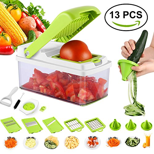 Vegetable Slicer 13 In 1 Mandoline Slicer Cutter Set 8 Blades Veggie Fruits Pasta Cheese Chopper Peeler Julienne Grater Dicer Lemon Squeezer With Cleaning Tool Hand Protector Container No (1 Vegetable Peeler)
