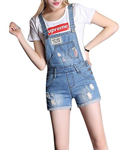 (Women's Classic Bib Overall Slim Ripped Distressed Denim Shorts Jumpsuits Blue)