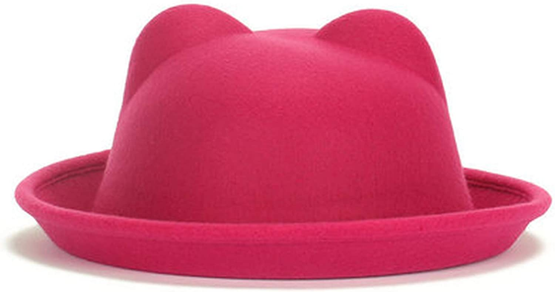 Women Winter Autumn Unique Cute Wool Felt Cat Ears Hat Cap Christmas Fodoras Bucket Caps