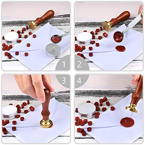 Auihiay 300 Pieces Sealing Wax Beads Sticks Gold Silver Red Wax Seal Beads Kit with 2 Pieces Candles and 1 Piece Melting Spoon for Wax Seal Stamp Letter Wedding Gift