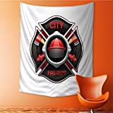 Home Decor Tapestry by city fire department organization realistic logo emblem design with crossed axes Wall Hanging for Bedroom Living Room Dorm 70W x 93L Inch