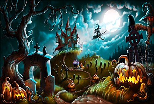 CSFOTO 7x5ft Halloween Background Halloween Night Mystery Graveyard Photography Backdrop Cemetery Darkness Ghost Gravestone Cross Witch Pumpkin Lantern Moonlight Party Photo Studio Props Wallpaper -
