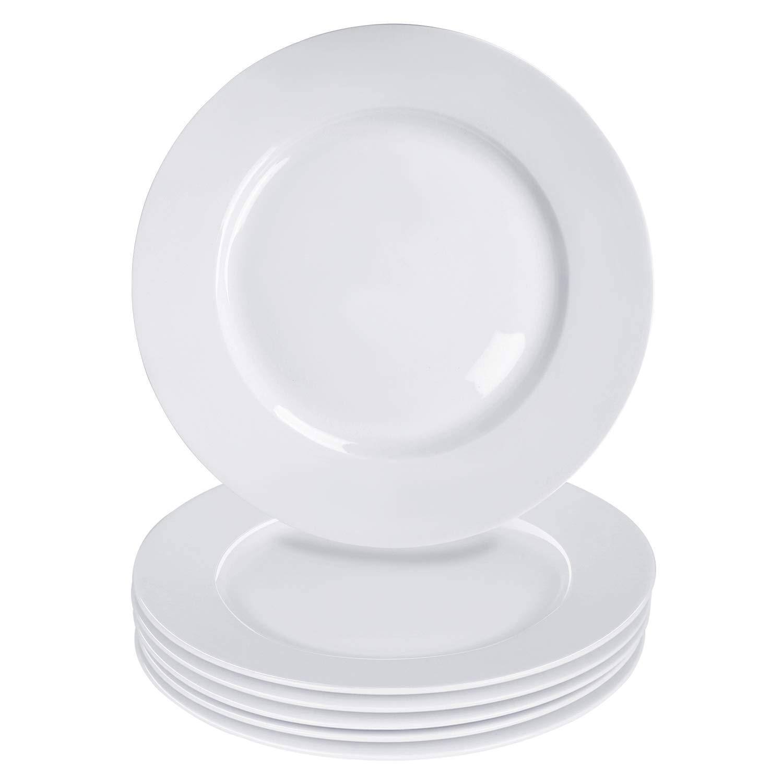 Alt-Gt 7.5 inch Porcelain Dinner Plates Set of 6,Ceramic Appetizer Plates for Bread,Pasta,Dessert,Salad,Sandwiches,Off White