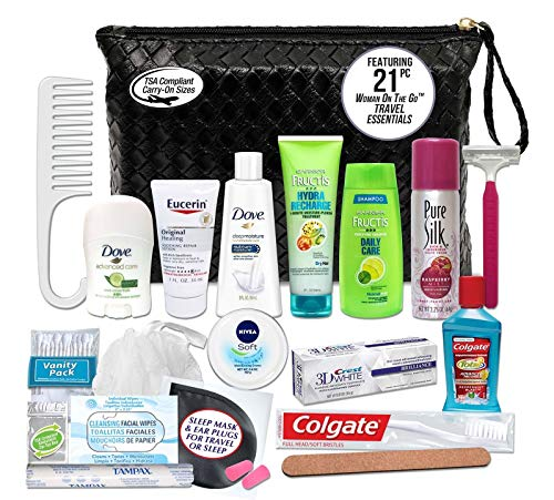 Convenience Kits International Women's Premium 21-Piece Assembled Necessities Travel Kit, Featuring: Fructis Hair Products