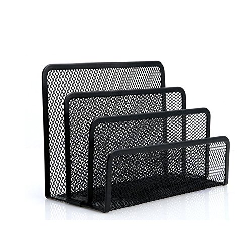 JUJU MALL-Black Mesh Letter Sorter Mail Document Desk Tray Office File Organiser - Detroit Oakland Mall