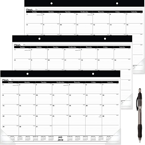 Mead 2018-2019 Academic Year Desk Pad Calendar, Compact, 17-3/4 x 10-7/8 (CAM10400) 3 Pack - Bundle Includes Black Ballpoint (Mead Desk Organizer)