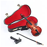 Seawoo Wooden Miniature Violin with Stand,Bow and Case Mini Musical Instrument Miniature Dollhouse Model Home Decoration (5.63''x2.05''x0.75'')