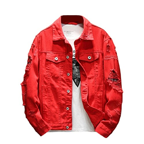 Denim breasted Hip Single hop Size Lapel Ripped Red Coat Howme Jacket Plus Men's Holes 0pwvSvq