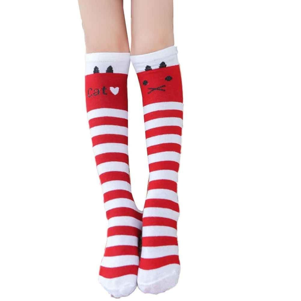LUQUAN 1 Pair Kid Girls Cute Leg Warmers Colorful Stripe Cat Cotton Stockings