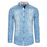 Herren Casual Relaxed Fit Langarm Printing Denim Hemd