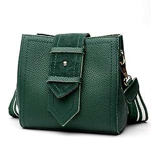 Fashion New Trend Casual Fashion Bills Shoulder Slung Small Leather Handbag (Color : Green)