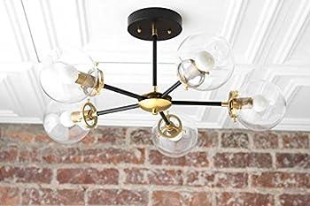 Modern Brass Globe Chandelier - Brass Ceiling Lamp Sputnik Lights - 5 Globe Brass Light Fixture