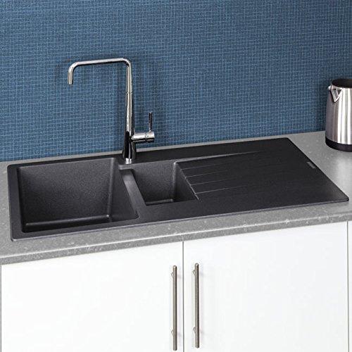 Reginox Harlem15 Silver Black Granite 1.5 Bowl Kitchen Sink with Drainer Inset